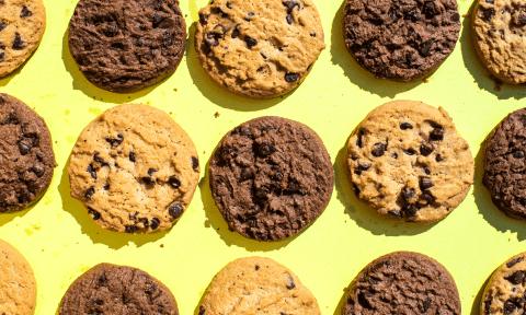 Choc chip cookies arrange a table