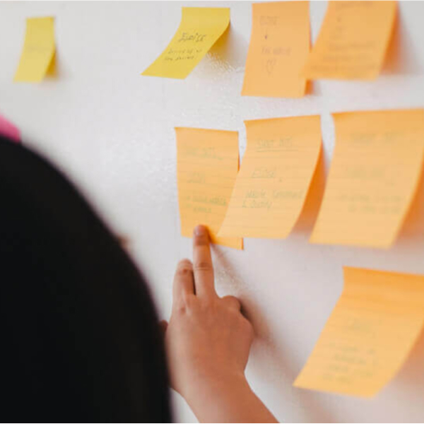Pointing to post-it